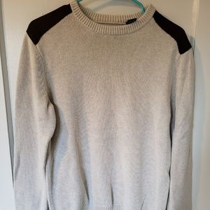Beige Sweater with Suede Shoulders and Elbow Pads